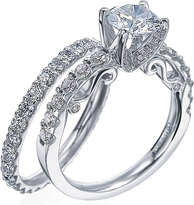 verragio detailed engagement ring with brilliant